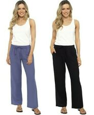 Ladies Linen Trousers Women's Fully Elasticated Pull On Pants Sizes UK 10-20