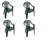 Plastic Low Back Chair Patio Garden Outdoor Picnic Party Stackable Seat Chairs Green
