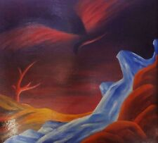 Surrealismus / surealles grosses Ölgemälde auf Platte: WASSERFALL UND BAUM
