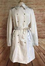 New LaMarque Womens White Heather Jacket Leather Trim Trench Coat Size Medium