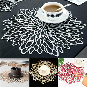 1/2/4x Non-slip Hollow Out Table Placemat PVC Plastic Coaster Insulation Pad Mat