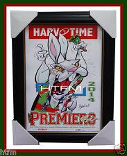 South Sydney Rabbitohs 2014 Premiers Harv Time Limited Edition Print Framed NRL