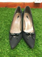 Tahari Size Black Canvas Pointed Toe Court Shoes Bow Detail UK Size 5