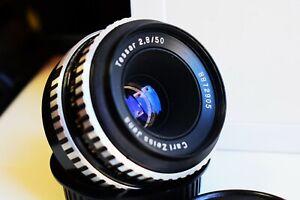 RARE Zebra Carl Zeiss Jena TESSAR Germany lens 50mm f/2.8 M42 mount EXC