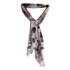 Women's Rose Mauve Pink and White Tie Dye Skull Design Scarf, Sarong or Cover Up