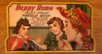 Vintage Happy Home Rust Proof Needle Book Gold Eye Sewing Needles NOS