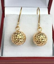 18k Solid Yellow Gold Cute Ball Dangle Leverback Earrings,Diamond Cut 1.96Grams