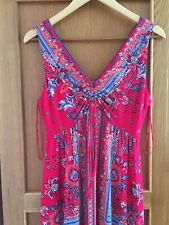 monsoon cerise patterned maxi dress size 12 new with tags