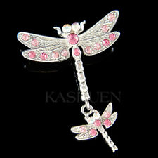 Pink DRAGONFLY Mother Baby made with Swarovski Crystal Mom Daughter Pin Brooch