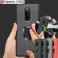 For Sony Xperia XZ4 XZ3 XA3 XA2 Ultra Leather TPU Case Magnetic Ring Stand Cover