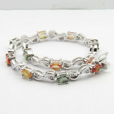 925 Pure Sterling Silver AAA Quality Tourmaline Gem TENNIS Love Bracelet 14.3 gm