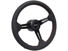 1976 - 1995 Jeep S6 Sport Leather Steering Wheel Kit | Red Stitch Detail