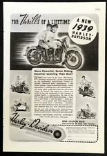 1939 Harley Davidson *The Thrills of a Lifetime* vintage Motorcycle AD