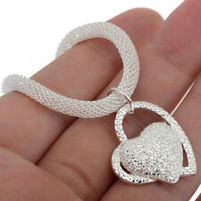 charms women wedding 925 sterling silver plated beautiful heart necklace Jewelry