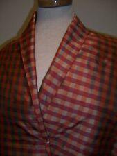 3.25YD IRI CHECKED DESIGN THAI SILK ANTIQUE GOLD RED FABRIC DRESS/HOME #BP14