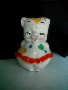 Vintage Shawnee Pottery Polka Dot PIG Slot COIN BANK Cork Stopper