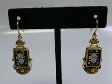 Beautiful Victorian 18K Yellow Gold Micromosaic Dangle Earrings - Floral Design