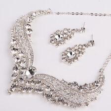Women Silver Wedding Bride Crystal Diamond Pendant Necklace Earrings Set Jewelry