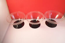 Vintage Bryce ? Set of 3 Clear Glass Black Stem Etched Dragon Sherbet Glasses