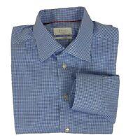 Eton Button Up Dress Shirt Men's 42/16. Long Sleeve Blue Checkered Casual Cotton