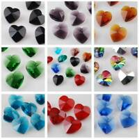 10pcs 14mm Heart Faceted Loose Crystal Glass Beads Pendants for Jewelry Making