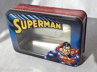 "DC Comics Superman Hinged Lid Tin Box 7x5"" Toy Trinket Holder Clear Lid Insert"