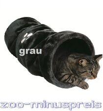 Katzen Spieltunnel Maße: ø 22 × 60 cm, Spieltunnel, Plüsch grau
