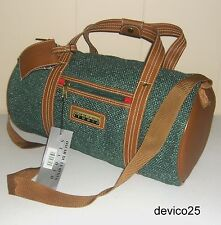 "NEW NWT VINTAGE OSCAR DE LA RENTA STUDIO GREEN TWEED/TAN 17x9"" BARREL-ROLL BAG"