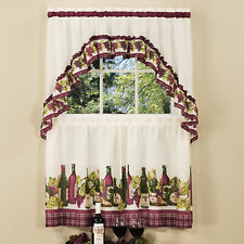 3-Piece Window Kitchen Curtain Set, Wine and Cheese, Tier Pair Panels + Top Swag