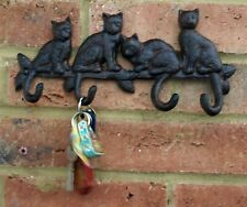 Cat Hook Wall Coat Rack Cast Iron Metal Kitten Hallway Key Tidy Kitchen New