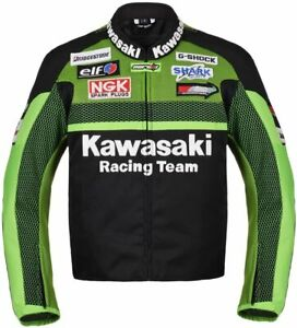New Handmade Men Green Kawasaki Biker Racing Team Motorcycle Jacket