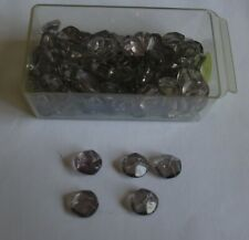Vintage Faceted Smoked Glass Shank Buttons - 10mm diameter