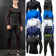 Mens Compression Running Leggings Tops Athletic Gym Base Layers Moisture Wicking