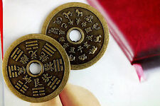 2 CHINESE L COPPER 12 ANIMAL ZODIAC SIGN ASTROLOGY COIN BIRTHDAY PARTY GIFT A3