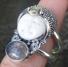 RG01-925 Sterling Silver Balinese Goddess face Ring W Labradorite Size 9