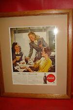 COCA COLA Framed original magazine ad advertising OFFICE LUNCH coke soda pop
