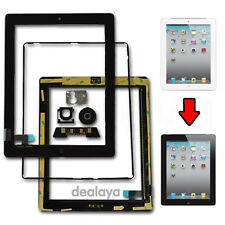 for iPad 2 Black Replacement Screen Touch Digitizer Mid Frame Bezel&home Button