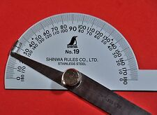 Japanese SHINWA Protractor No.19 Rapporteur Winkelmesser Stainless steel 62490