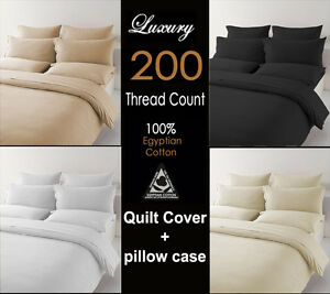 200 Thread Count 100% Egyptian Cotton Duvet Cover Fitted Sheet Pillow cases
