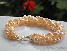 PEACH PINK Cultured 3-Row Freshwater Pearl Bracelet - 925 SOLID Silver clasp