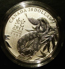 *NEW* CANADA Fine Silver $20 Coin  Year of the Snake 2013 1/4 oz. LOW MINTAGE!
