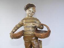 1900 JOHANN MARESCH AUSTRIA 41cm Keramik Siderolith Figur 6117 Junge mit 2 Körbe