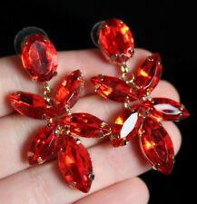 Beautiful Vintage Style Fire Ruby Red Navette Rhinestone Drop EARRINGS Jewellery