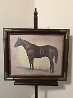 """Vintage Darol Dickinson Horse Print Equestrian Art """"Dark Chestnut"""" Framed"""