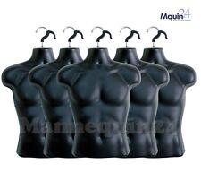 5 Pack Male Torso Mannequins Black Men Hanging Dress Forms