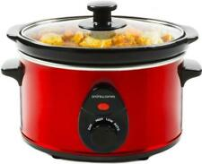 Andrew James Slow Cooker 1.5L Red Electric Small Removable Ceramic Inner Pot