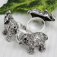 1pc Clear Crystal Silvery Elephant Animal Bead Band Finger Ring Women Jewelry