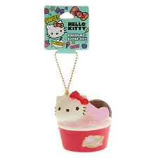Sanrio Hello Kitty Sundae Squishy Keychain Charm Gold Chain Officially Licensed