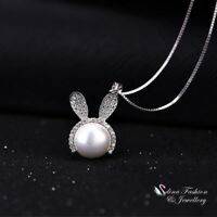 18K White Gold Filled Simulated Diamond & Pearl Stunning Cute Bunny Necklace