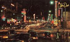 CA, California  HOLLYWOOD BOULEVARD~Coffee Dan's~CARS Night 1956 Chrome Postcard